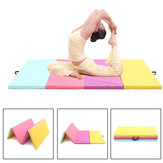 94.48x47.24x1.96inch 4 Folding Leather Gymnastics Mat Yoga Exercise Gym Panel Tumbling Climbing Pilates Pad Air Track