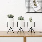 Metallständer Keramik Sukkulente Topf Blume Pflanzer Halter Garten Home Decor Dekorative Hardware