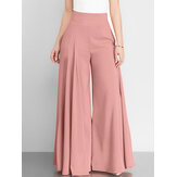 Women Solid Color High Waist Zipper Wide Leg Pants With Pocket