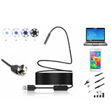 2 in 1 5mm 6LED IP67 Mikro USB / USB Endoskop Borescope Muayene Kamera Soft Android PC için Kablo