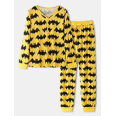 Halloween Women Allover Cartoon Bat Print Scollo a V manica lunga Top con coulisse Jogger Pantaloni Set pigiama da casa