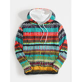 Mens Colorful Ethnic Style Print Long Sleeve Kangaroo Pocket Vintage Drawstring Hoodies