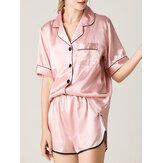 Mulheres Colorful Botão listrado para cima Revere Collar Pocket Home Ice Silk Pijama Set