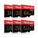 Original              TECHFLASH 4GB-256GB Class 10 TF Memory Card Flash Drive With Card Adapter Black-Gold Card Style For iPhone 12 Smartphone Tablet Switch Speaker Drone Car DVR GPS Camera