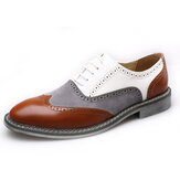 Men Brogue Colorblock Oxfords Lace Up Business Casual Formal Shoes