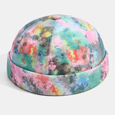 Banggood Design Men Contrast Color Graffiti Painting Brimless Landlord Cap Skull Cap