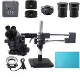 3.5X-90X مزدوج بوم حامل تكبير مجهر ستيريو ثلاثي العينيات البؤري + 48MP 2K HDMI USB الصناعية الة تصوير لإصلاح هاتف PCB