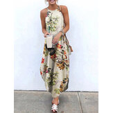 女性ノースリーブストラップ花柄コットン不規則な裾マキシドレス