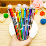 SM-6 Korean Creative Cute Cartoon Multicolor 6-in-1 Colors Press Ballpoint Pen Writing Ink Pen Office School Stationery Supplies