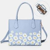 Women PU Leather Daisy Multifunction Multi-pocket 13.3 Inch Laptop Key Handbag Shoulder Bag
