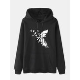 Women Feather Print Long Sleeve Casual Drawstring Pullover Hoodies