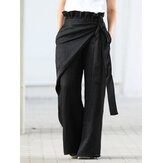 Women Casual Elastic Waist Ruffle Side Pockets Irregular Loose Pants
