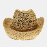 قبعة واقية من الشمس مصنوعة يدوياً من السفر للجنسين شاطئ قبعة رعاة البقر نمط بنما قبعة القش مع سلسلة قابلة للتعديل