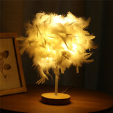 USB Modern White Feather Shade Table Lamp Lampshade Elegant Bedside Desk Night Light Home Bedroom Decor