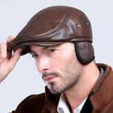 Herren Vintage Echte Rindsleder Baskenmütze Kappen Ohrenklappen Winddichter Entenschnabel Warme schwarzbraune Hüte