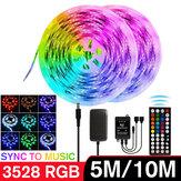 5M / 10M 3528 SMD RGB LED Strip Light Sync Music Control не водонепроницаемый струнный светильник + 44 клавиши IR Контроллер Дистанционный