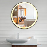 Specchio da bagno tondo a parete in ferro battuto, dimmerabile senza elettrodi LED lampada, tricolore
