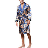 Mens Satin Silk Pajamas Kimono Bathrobe Robe Sleepwear