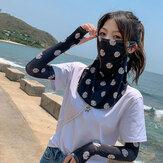 النساء واقية من الشمس في الهواء الطلق UV حماية الحرير الجليد كم الذراع الحرس كم غطاء الحجاب قناع تنفس