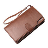 Men Zipper Tri-Fold Large-Capacity Business Wallet Clutch Bag