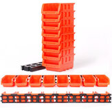 8Pcs ABS Toolbox Awall-mounted Storage Box Foldable Tray Hardware Screw Tool Organize Box Stackable for Small Racks Side by Side