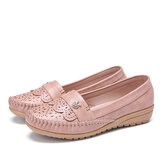 LOSTISY Women Ruffle Stricing Decor Hollow Comfy Non Slip Casual Flats