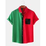 Hommes couleur unie patchwork bouton vers le haut col rabattu manches courtes chemises à la mode