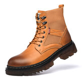 Men Comfy Round Toe Slip Resistant High Top Tooling Boots