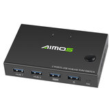 AIMOS 2-Port HD KVM Switch Switcher 4K*2K@30Hz Video Display USB Hub Splitter Keyboard Mouse USB Print Sharing Device AM-KVM201CC
