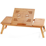 Escritorio de bambú para portátil, bandeja de cama para servir el desayuno portátil ajustable, mesa multifuncional con cajón de almacenamiento superior inclinable