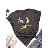 女性面白いバナナレタープリントラウンドネックカジュアル半袖Tシャツ