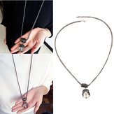 Water Drop Round Crystal Metal Long Chain Sweater Chain Statement Necklace