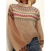 Dames vintage jacquard gedrukte halve kraag casual pullover gebreide trui