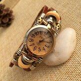 Deffrun Vintage Simple Dial Women Bracelet Watch Alloy Case Multilayer Quartz Watch