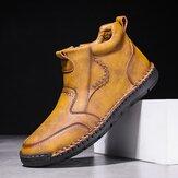Pánské ručně šité kožené kotníkové boty z mikrovlákna s pohodlnými protiskluzovými bočními zipy