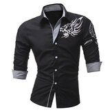 Men Fashion Totem Printing Long Sleeve Casual Designer Shirt