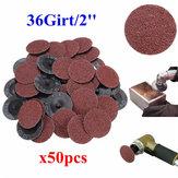 50st 36 Grit 2 tum 50mm Roll Lås Slipskivor Slipverktyg för Dremel