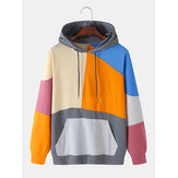 Colorful Patchwork Solid Color Kangaroo Pocket Long Sleeve Hoodies For Men