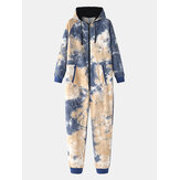 Cotton Mens Tie Dye Hooded Home Jumpsuit Pajamas With Pocket