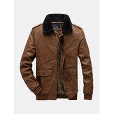 Mens Windproof Faux Fur Lapel Warm Lining Vintage PU Leather Jacket