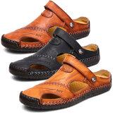 Мужская кожа Сандалии и Тапки Обувь Пляжный Закрытый носок с ручной вышивкой Soft Повседневная обувь без шнуровки