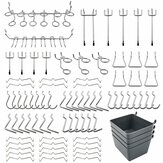 80Pcs Pegboard Крючки в ассортименте с Pegboard Bins Peg Locks для организации системы хранения Набор