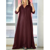 Women Vintage V-Neck Side Pockets Split Cotton Maxi Dress