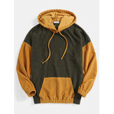 Herr Corduroy enfärgad lapptäcke Drop Shoulder Kangaroo Pocket Casual Hoodies