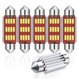 Audew 6PCS 42mm C5W 4014 SMD LED Adorno Dome Luces Licencia Placa Bombillas 12V 2.7W 4882K Kit blanco