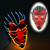 Halloween Haunted House Decor EL Wire Devil Mask Monster LED Luminous Mask Cosplay Flashing Mask
