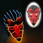 Хэллоуин дом с привидениями декор EL Провод дьявол Маска монстр LED светящийся Маска косплей мигающий Маска