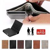 Homens de negócios RFID Anti-scan Mini Fibra de Carbono Padrão Moedas de alumínio de cartão de crédito automático Bolsa Carteira ID Titular do cartão