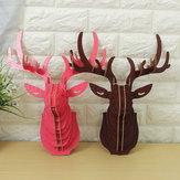 Artesanía colgante de madera pared de la cabeza de alce 3d animal de la fauna modelo de bricolaje para la decoración casera