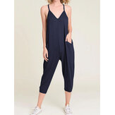 Women Solid Color V-Neck Sleeveless Harem Pants Jumpsuit